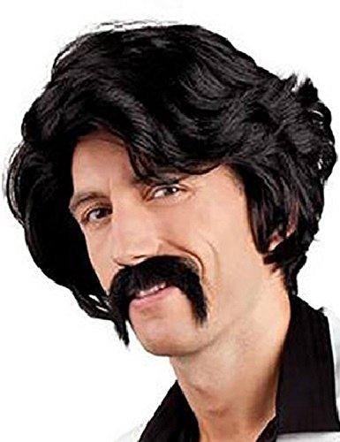 Fancy Me Hommes 1970s Perruque et Faux Moustache Costume Déguisement Kit Accessoire - Noir, One Size