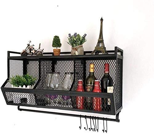 Wijnliefhebber Bar & Retro Loft wandplank van metaal 3 planken met wandhaken Cube plank opslagframe boekenplank (grootte: zwart zonder haakje) Bronze Without hooks