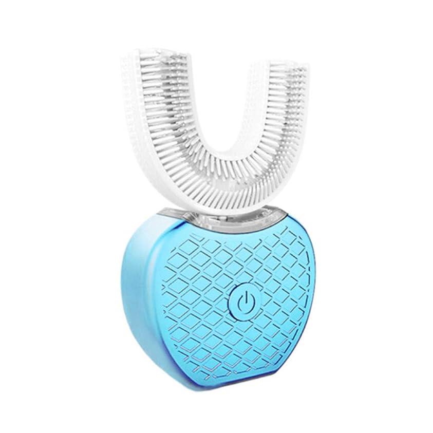 はっきりしない刺激する確保するLazayyii 電動歯ブラシ 超音波自動歯ブラシ アップグレード 口腔洗浄器 デンタルケア 360°包囲清掃歯 ナノブルーレイ美歯 虫歯予防 U型 防水 (ブルー)