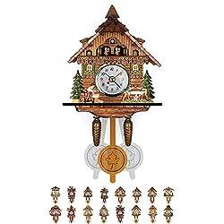 NANANA Vivid Large Cuckoo Clock Wall Cuckoo Clock, Cuckoo Clock Movement Chalet-Style, Authentic Black Forest Cuckoo Clock, 115×225×50Mm,#16