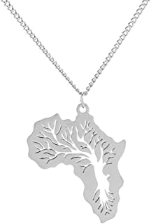 RUIZHEN Stainless Steel Hiphop Africa Map Necklace Gift Tree Ethiopian Jewelry for Women Men