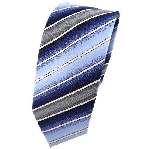 TigerTie - schmale Designer Krawatte in blau hellblau dunkelblau creme grau gestreift