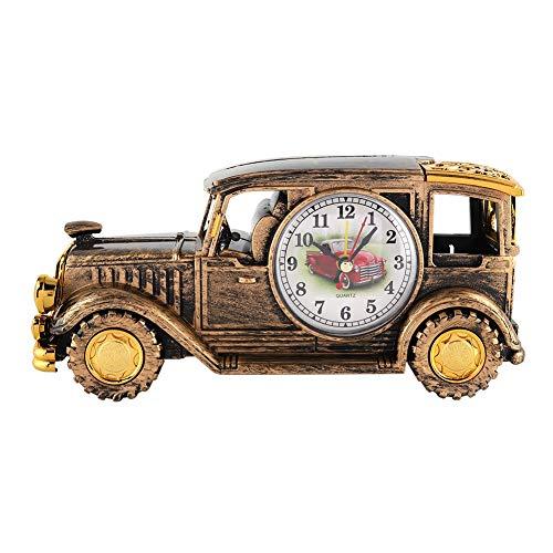 HERCHR Reloj Despertador de Coche Vintage, Reloj Despertador clásico multifunción con Soporte para bolígrafo, decoración de Mesa de Escritorio, Regalo(Bronce)