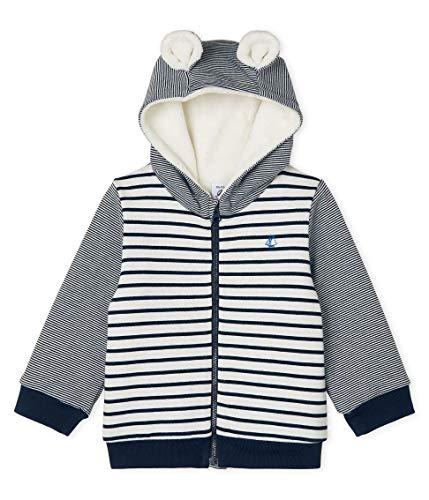 Petit Bateau Sweat Shirt A Capuche_5089201, Multicolor (Marshmallow/Smoking 01), 68 (Talla del Fabricante: 6M/67centimeters) para Bebés