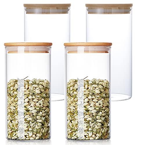 Glasdosen mit Bambusdeckel, stapelbare Glasbehälter und Behälter-Sets, transparent, luftdicht, Küchen-Vorratsglas für Gewürze, Zucker, Kaffee, Tee, 700 ml (700 ml), 4 Stück