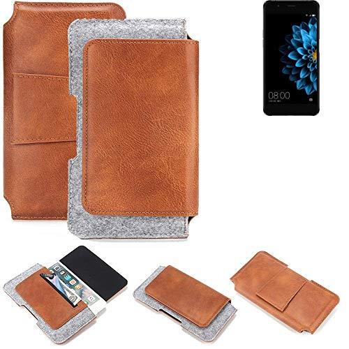 K-S-Trade® Schutz Hülle Für Hisense A2 Gürteltasche Gürtel Tasche Schutzhülle Handy Smartphone Tasche Handyhülle PU + Filz, Braun (1x)