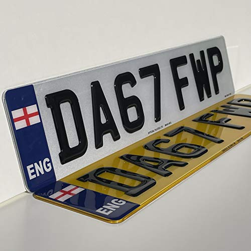 England 3D Gel Number Plates Front and Rear for Car/Van Registration Plate (PAIR)