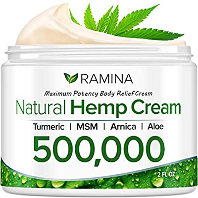 Ramina Natural Hemp Extract Pain Relief Cream - 500,000 - Turmeric, MSM & Arnica - Relieves Inflammation, Muscle, Joint, Back, Knee, Nerves & Arthritis Pain - Made in USA - Non-GMO from Ramina