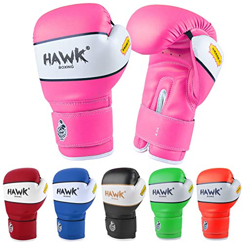 Hawk Sports Kids Boxing Gloves for Kids Children Youth Punching Bag Kickboxing Muay Thai Mitts MMA Training Sparring Gloves (Pink, 6 oz)