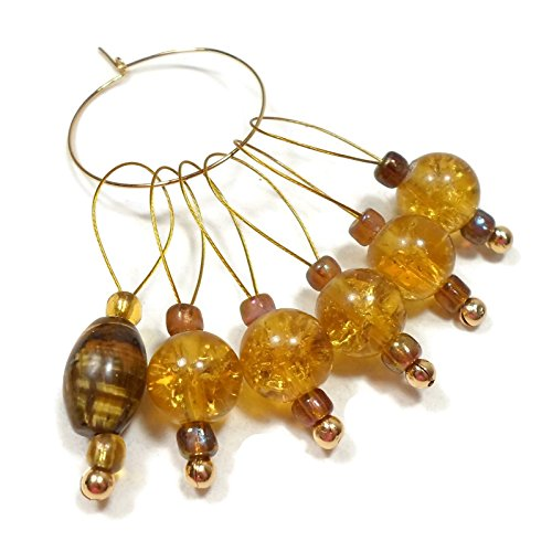 Handmade Stitch Markers for Knitting Golden Honey Tiger's Eye