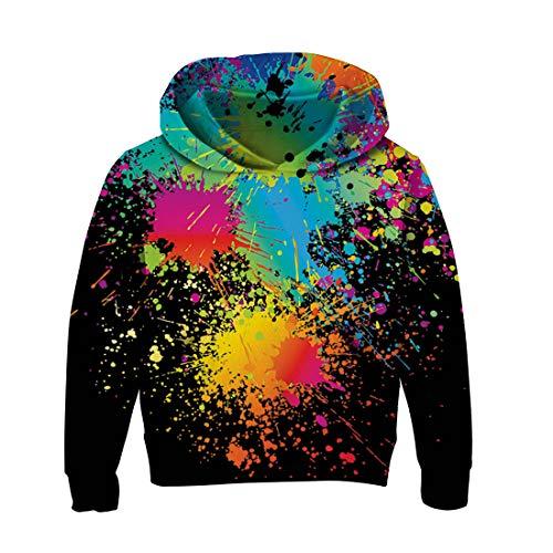 RAISEVERN Kid Kleidung Kapuzenpullover Jungen 134 Novetly Graffiti Print Sport Hoodie Langarm-T-Shirt Cartoon Sweatshirt Pullover für Mädchen