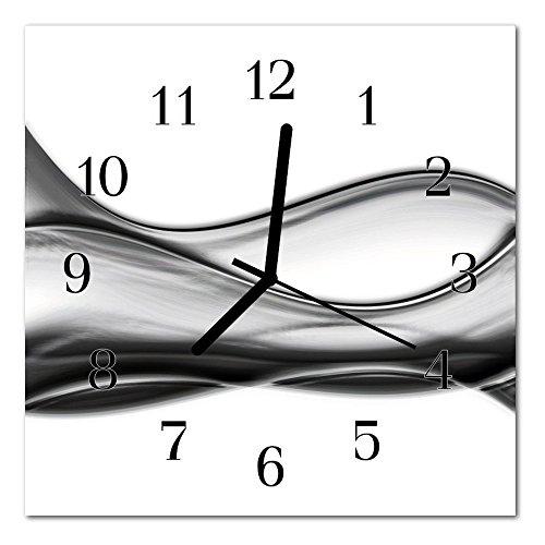 DekoGlas Glasuhr \'Abstrakt grau\' Uhr aus Echtglas, eckig große Motiv Wanduhr 30x30 cm, lautlos für Wohnzimmer & Küche