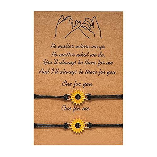wastreake Pulseira ajustável de girassol, com pulseira de presente de cartão pequena margarida adequada para amizade, pulseira de casal