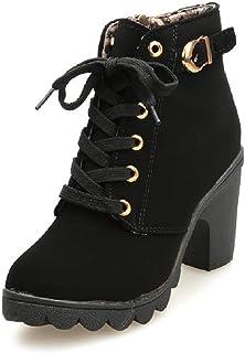 Botines De Altos Tacón Mujer,Piel con Plataforma Ante Forrados Cordones 8 Cm Zapatos Moda Otoño Invierno Comodos Negro Verde Amarillo Rojo 35-41