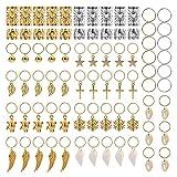 AIM Cloudbed 250 Piezas de Anillos de Trenzas de Pelo de Metal, Puños de Pelo de Cobre Rastas y Colgantes para el Pelo Dreadlocks Colgantes Accesorios de Oro y Plata