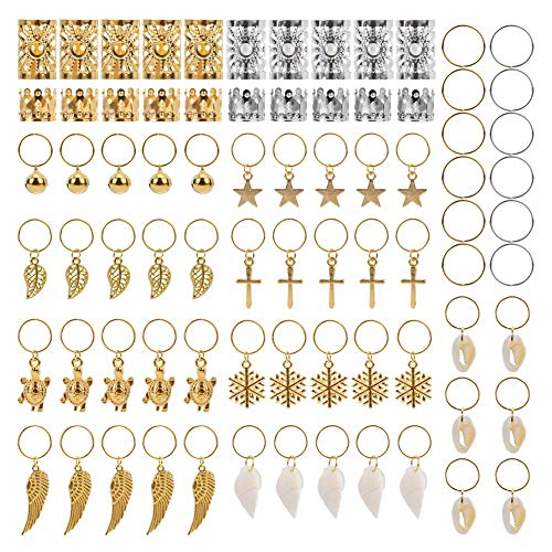 AIM Cloudbed, set di 250 anelli in metallo con ciondoli per trecce, dreadlock, accessori per capelli, colore: oro e argento, con scatola e Lega, colore: Gold, cod. ED${W1728