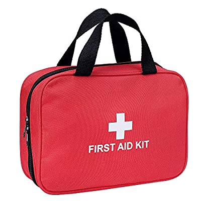 First Aid Kit - 230 Piece - for Car, Home, Travel, Camping, Office or Sports | Red Bag / Reflective Cross, Fully Stocked with Essential Supplies for Emergency and Survival