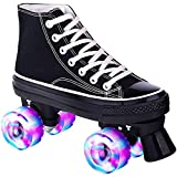 女性と男性のための黒いクワッドローラースケート、初心者のための4つのライトアップホイールを備えたハイトップダブルロースニーカーローラースケートティーンボーイズガールズ Black,43