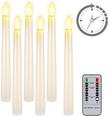 """Flameless Candles with Remote Timer, PChero 7.9"""" Ivory Battery Operated LED Taper Dripless Floating Flickering Candles for We"""