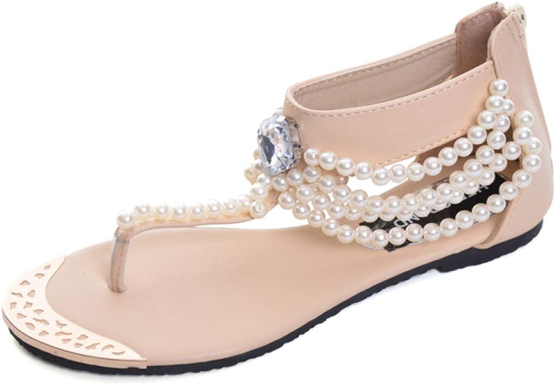 MEIZOKEN Womens Bohemian Beaded String Flat Sandals Rhinestone Ankle Wrap Thong Flip Flops Summer Beach shoes
