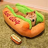 WSHLU Panier pour Chien, Forme De Hot Dog Bed Saucisse Forme Coton Chien Panier Chaud Lavable en Peluche Chats Lit