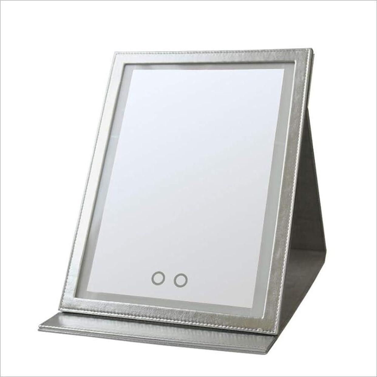 スーツケース教える黙認するLedタッチpuミラーフィルライト美容メイクアップスキンケアミラー化粧鏡デスクトップ化粧鏡ポータブル折りたたみミラー