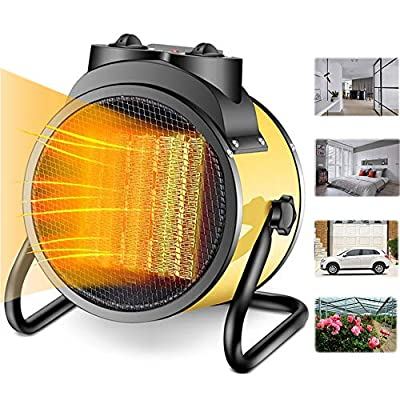 Buyplus Electric Garage Heater - Greenhouse Fan Heater Portable Space Heater, Adjustable Thermostat, for Grow Tent, Office, Workplace, PTC Fast Heating, Overheat Protection, Metal Base
