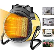 Electric Patio Heater - Greenhouse Fan, Heater Portable Space Heater, Adjustable Thermostat, for Grow Tent, Office, Workplace, PTC Fast Heating, Electric Ceramic Heaters,Metal Base