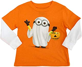 Infant & Toddler Boys Orange Minion Ghost Halloween Shirt