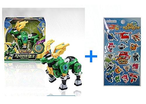 Young Toys Koreatv Animation Biklonz Mega Beast Giant Elk Transforming Coalescence Robot, Action Figure Transformer Robot + Super Wings Sticker(2 Piece)