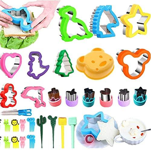 Ausstechformen Sandwich Ausstecher - Cookie Cutters Set 32 PCS, Gemüse Obst Ausstecher Edelstahl, Micky Maus Dinosaurier Stern Herz für Kinder (32 Stück)