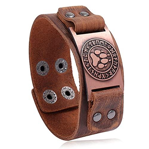 WXJ Punk Vintage brújula brazaletes nórdicos runas símbolo Envoltura Genuina Cuero Vikingo Pulsera para Hombres (Metal Color : 84002)