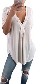 Fseason Womens Short-Sleeve V Neck Shirt Plus-size Blouse Tunic Tops