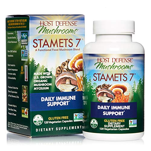 Host Defense, Stamets 7 Capsules, Daily Immune Support, Mushroom Supplement with Lion's Mane, Reishi, Vegan, Organic, 120 Capsules (60 Servings)