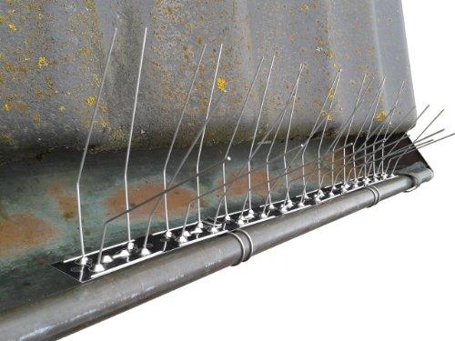 Taubenabwehr Dachrinnenschutz aus Edelstahl + 2 Befestigungsclips