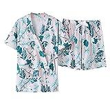 DFDLNL Albornoces de Verano Pijamas Conjunto de Bata de Mujer Pijamas de Manga Corta de algodón Puro 100% 2 Piezas Ropa de Dormir XL