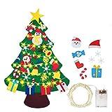 BeiLan Fieltro Árbol de Navidad, Árbol de Navidad DIY con Luces LED 30 Unids Adornos Navidad Decoración Colgante para Niños Niños arbol de Navidad Cafe Hotel casa decoración