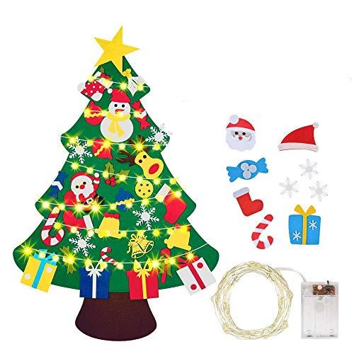 BeiLan Feltro Albero Natale,Albero di Natale con luci a LED con 30pcs Staccabili per i Bambini DIY Natale Albero Regali di Natale di per la Decorazione della Parete del Portello dei Bambini