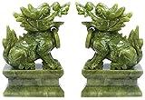 LULUDP Sculpture Feng Shui Conjunto de Dos Jade chi Lin/Kylin Riqueza Estatua de Prosperidad, decoración del hogar Atraer Riqueza y Buena Suerte, esculturas, Conjunto Manualidades (Color : Set)