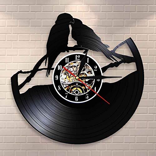 BFMBCHDJ Papageien auf Zweig Vinyl Schallplattenuhr Papagei Paar Voliere Wanddekoration Kunstuhr Vögel Wanduhr Uhr Vogel für Tiere Liebhaber Keine LED 12 Zoll