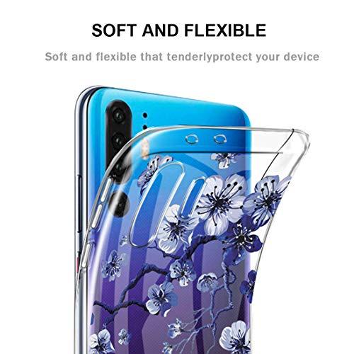 pooier Kompatibel Mit Huawei P30 Pro Hülle Durchsichtig Silikon Handyhülle Ultra Slim Wasserdicht Schutzhülle Elegant Muster Clear Rosa Blumen Tasche (Huawei P30 Pro, TPU Lila) - 3