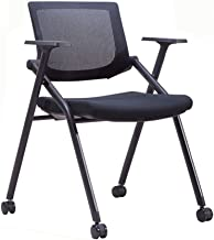 Light Source Folding Chairs Folding Chair, Mobile Office Chair On Casters, Conference Chair, Mesh Backrest Chair, Metal Table Legs, Thick Sponge Cushion