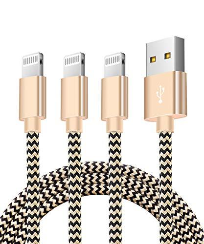 Zeuste Cable iPhone, Cargador iPhone Adaptador USB [3Pack 1.5M] de Nylon Trenzado Compatible con iPhone 11/11Pro/XS/XR/X/8 Plus/8/7/6S/6+/6, iPad y más (Dorado)