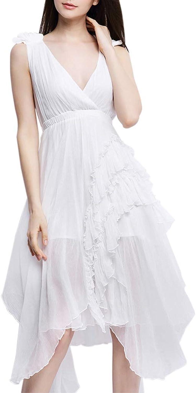 CDCLOTH Women's Summer Mulberry Silk Sleeveless Vneck Backless Beach Long Dress