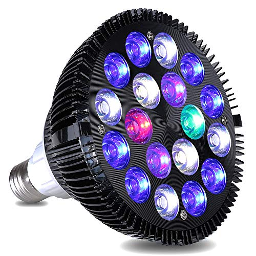 LED Aquarium Light, KINGBO 18W Refugium Light Aquarium LED Light Fish Tank Light Bulb with 6-Band Full Spectrum for Coral Reef Saltwater Tank Plants Growth