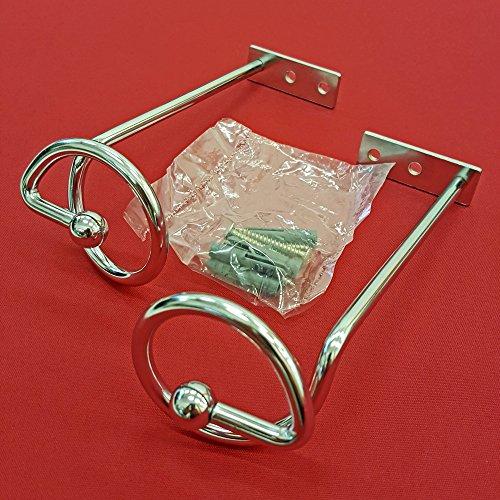 Easy-Shadow - 4 Stück Drapierhaken verchromt für Gardinen / Gardinenschals / Querbehänge / Vorhänge - Haken aus Metall zur Dekoration von Schals / Stores inkl. Montagematerial - verchromt