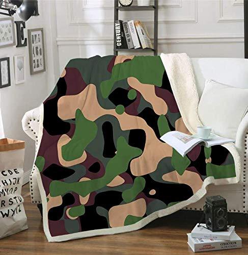 RKZM Camouflage 3D Gedrukt Gooi Deken Picknick Mat Camping Baby Thuis Sherpa Deken Reisbank Quilt Cover Voor Kinderen En Volwassenen 150 * 200Cm