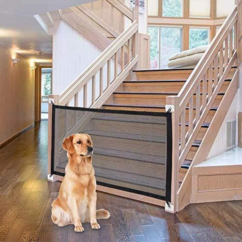 Puerta mágica para Mascotas o Bebés, Barrera Seguridad Perros, Puerta de Perro, Barrera para Perro, Plegable y portátil,ideal para perros o gatos,en escaleras en interiores y exteriores,180 x 72 cm