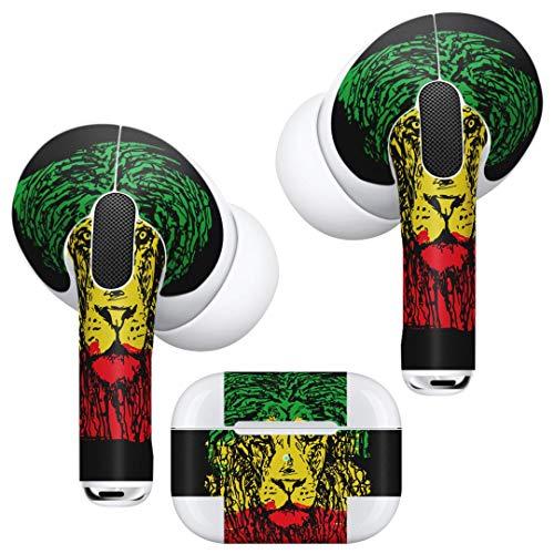 AirPodsPro-Skin + Hüllen-Klebeskin Skin-Aufkleber für AirPods Pro Stylische Hüllen für Schutz und individuelles Design 011947 Reggae Lion Raster Farbe