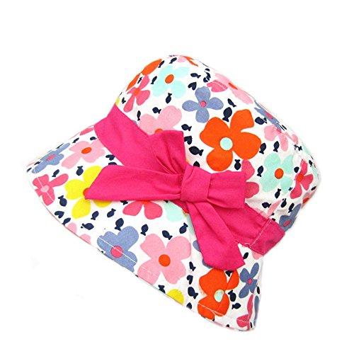 Gifts Treat Sombrero de Niña Summer Sun Hat Sombrero de Boonie de Algodón Plegable (Rosa Corbata de moño Flor, 50CM)